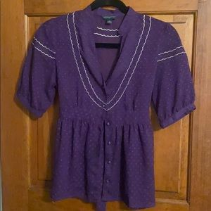 Purple Sheer silk polka-dot blouse